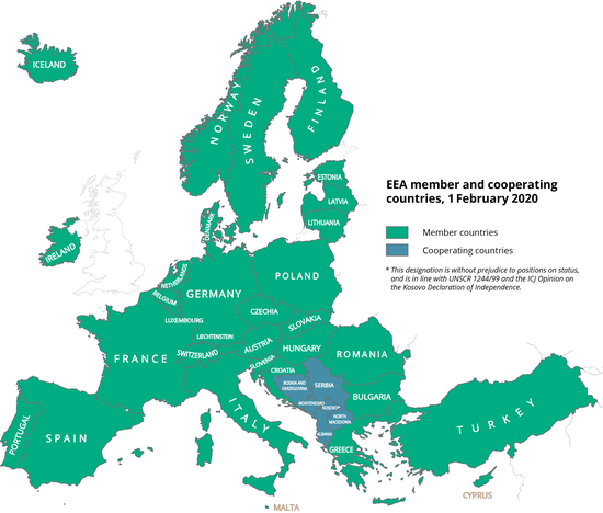 Map of all Eionet member and associated countries